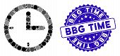 Mosaic Time Icon And Rubber Stamp Seal With Bbg Time Phrase. Mosaic Vector Is Composed With Time Pic poster