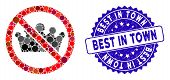 Mosaic No Monarchy Icon And Rubber Stamp Watermark With Best In Town Caption. Mosaic Vector Is Compo poster