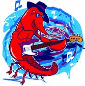 picture of crawfish  - A crawfish jazz musician with a bass guitar - JPG