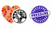 Mosaic Blood Pressure Meter Icon And Distressed Stamp Seal With Pressure Text. Mosaic Vector Is Form poster