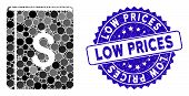 Mosaic Dollar Book Icon And Distressed Stamp Watermark With Low Prices Text. Mosaic Vector Is Design poster