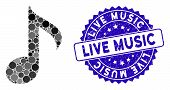 Mosaic Musical Note Icon And Distressed Stamp Seal With Live Music Caption. Mosaic Vector Is Created poster