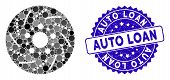 Mosaic Brake Disk Icon And Grunge Stamp Watermark With Auto Loan Caption. Mosaic Vector Is Created W poster