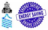 Mosaic Energy Saving Light Bulb Icon And Grunge Stamp Watermark With Energy Saving Text. Mosaic Vect poster