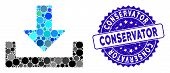 Mosaic Download Container Icon And Corroded Stamp Seal With Conservator Caption. Mosaic Vector Is Co poster