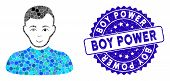 Mosaic Boy Icon And Grunge Stamp Seal With Boy Power Text. Mosaic Vector Is Created With Boy Icon An poster