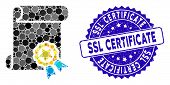 Collage Certificate Icon And Grunge Stamp Seal With Ssl Certificate Phrase. Mosaic Vector Is Compose poster
