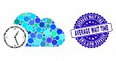 Mosaic Time Icon And Grunge Stamp Seal With Average Wait Time Phrase. Mosaic Vector Is Designed With poster