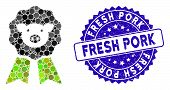 Mosaic Pig Award Stamp Icon And Rubber Stamp Watermark With Fresh Pork Caption. Mosaic Vector Is Com poster