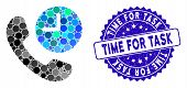 Mosaic Phone Time Icon And Corroded Stamp Seal With Time For Task Text. Mosaic Vector Is Created Fro poster
