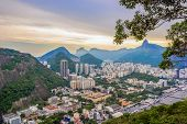 Rio De Janeiro Amazing View, Urca Hill, Sugar Loaf Mountain, Evening Clouds, Sunset. Buildings, City poster