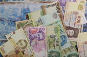 National Currency Ukrainian Money Hryvnia And Hungarian Forint Of Banknotes poster