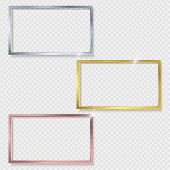 Set Of Metal Shiny Glowing Vintage Rectangle Frames With Shadows Isolated On Transparent Background. poster