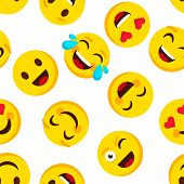 Emoticon Seamless Pattern. Emotions Cartoon Emojis Background. Funny Cute Faces Cartoon Kid Vector W poster