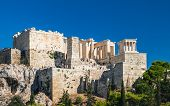 Tourists Enjoying Parthenon Temple On The Acropolis Of Athens, View From The Sightseeing Point Of Ar poster