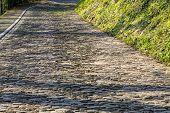 Image Of The Famous Cobblestone Road Muur Van Geraardsbergen Located In Belgium. On This Road Every  poster