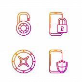 Set Line Smartphone With Security Shield , Safe , Safe Combination Lock Wheel And Smartphone With Cl poster