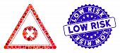 Mosaic Cancel Triangle Icon And Grunge Stamp Watermark With Low Risk Phrase. Mosaic Vector Is Design poster