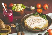 Baking Pork Lard Bacon Fatback With Black Pepper And Other Herbs And Spices In Ceramic Dish. Traditi poster