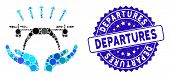 Mosaic Copter Startup Icon And Corroded Stamp Watermark With Departures Text. Mosaic Vector Is Compo poster