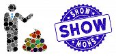 Mosaic Manager Show Shit Icon And Grunge Stamp Watermark With Show Text. Mosaic Vector Is Formed Wit poster