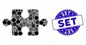 Mosaic Puzzle Item Icon And Grunge Stamp Seal With Set Caption. Mosaic Vector Is Composed With Puzzl poster