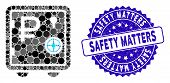 Mosaic Rouble Bank Safe Icon And Grunge Stamp Seal With Safety Matters Text. Mosaic Vector Is Compos poster