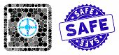 Mosaic Safe Icon And Grunge Stamp Seal With Safe Phrase. Mosaic Vector Is Designed With Safe Icon An poster