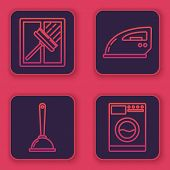 Set Line Squeegee, Scraper, Wiper, Toilet Plunger, Electric Iron And Washer . Blue Square Button. Ve poster