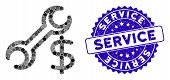 Mosaic Service Icon And Distressed Stamp Seal With Service Text. Mosaic Vector Is Formed With Servic poster