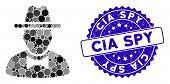 Mosaic Spy Icon And Corroded Stamp Seal With Cia Spy Text. Mosaic Vector Is Composed With Spy Icon A poster