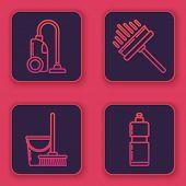 Set Line Vacuum Cleaner , Mop And Bucket , Squeegee, Scraper, Wiper And Plastic Bottles For Liquid D poster
