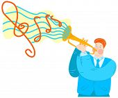Vector Flat Illustration Trumpeter Playing Trumpet. Abstract Cloud With Notes Emerges From Musical I poster