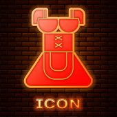 Glowing Neon Traditional Oktoberfest Folk Costume For Women Called Dirndl Icon Isolated On Brick Wal poster