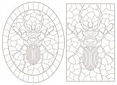 Set Of Contour Illustrations Of Stained Glass Windows With Beetles, Dark Contours Isolated On White  poster