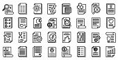 Reporter Icons Set. Outline Set Of Reporter Vector Icons For Web Design Isolated On White Background poster