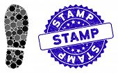 Mosaic Boot Footprint Icon And Grunge Stamp Seal With Stamp Phrase. Mosaic Vector Is Designed With B poster