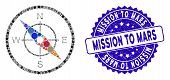Mosaic Compass Icon And Corroded Stamp Seal With Mission To Mars Phrase. Mosaic Vector Is Composed W poster