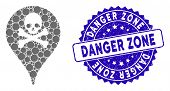 Mosaic Danger Zone Map Marker Icon And Grunge Stamp Seal With Danger Zone Caption. Mosaic Vector Is  poster
