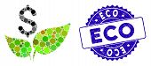 Mosaic Eco Startup Icon And Corroded Stamp Seal With Eco Phrase. Mosaic Vector Is Composed With Eco  poster
