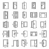 Entrance Exit Icons Set. Outline Set Of Entrance Exit Vector Icons For Web Design Isolated On White  poster