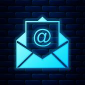 Glowing Neon Mail And E-mail Icon Isolated On Brick Wall Background. Envelope Symbol E-mail. Email M poster