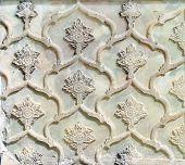 Decorative marble bas-relief with floral ornament in Golestan Palace (Marble Palace, Palace of Roses poster