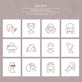 Vector Set Of Graphic Icons Of Female Styles In A Linear Style. Set Of Vector Icons In Linear Style  poster