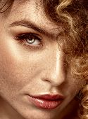Beauty Portrait Of Elegant Girl With Freckles. poster