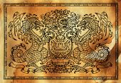 Heraldic Drawing With Dragon In Frame Against Texture Background. Hand Drawn Engraved Illustration W poster