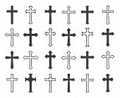 Outline Christian Crosses. Vector Outline And Black Christian Cross Collection, Decorative Crucifix  poster