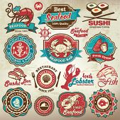 stock photo of crab  - Collection of vintage retro grunge seafood restaurant labels - JPG