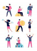 Rich People. Happy People With A Lot Of Money Luxury Lifestyle Millionaire Characters Vector Set. Il poster