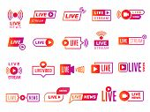 Live Stream Badges. Video Broadcasting Shows Digital Online Text Templates Live News Vector Stickers poster